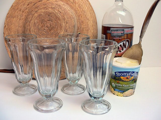Four Vintage 50s Soda Fountain Glasses