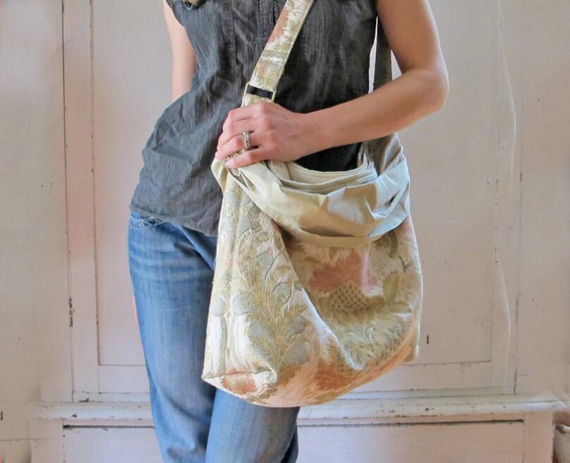 Shirred Silk Tote Bag