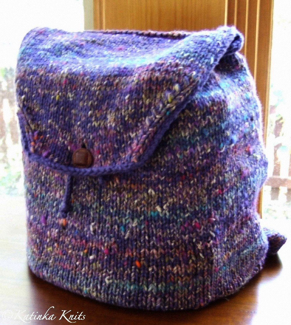 Backpack Knitting Pattern : Serendipity Backpack Knitting Pattern pdf by KatinkaKnits on Etsy