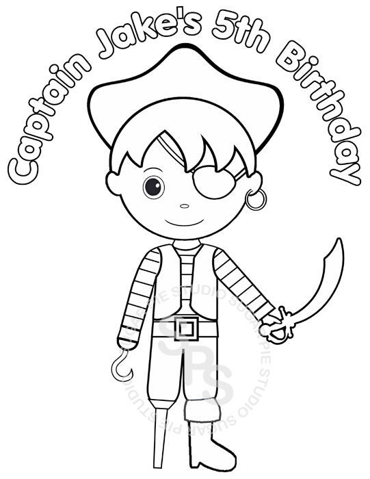 Birthday Coloring Pages Pdf : Personalized printable pirate birthday party by sugarpiestudio