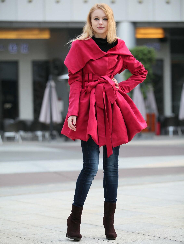 رز قرمز روپوش دار ژاکت کرکی FAUX جیر چرم Hoodie کت زمستونی آستین سفارشی پیراهن بی استین یا با استین که مرد وزن میپوشیدهاند زنان - NC266