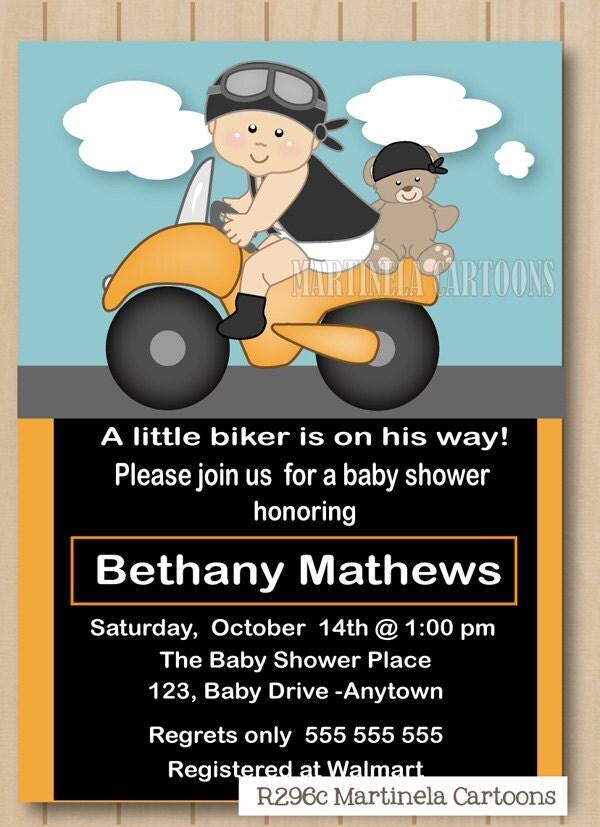 motorcycle baby shower invitation first birthdday invitation