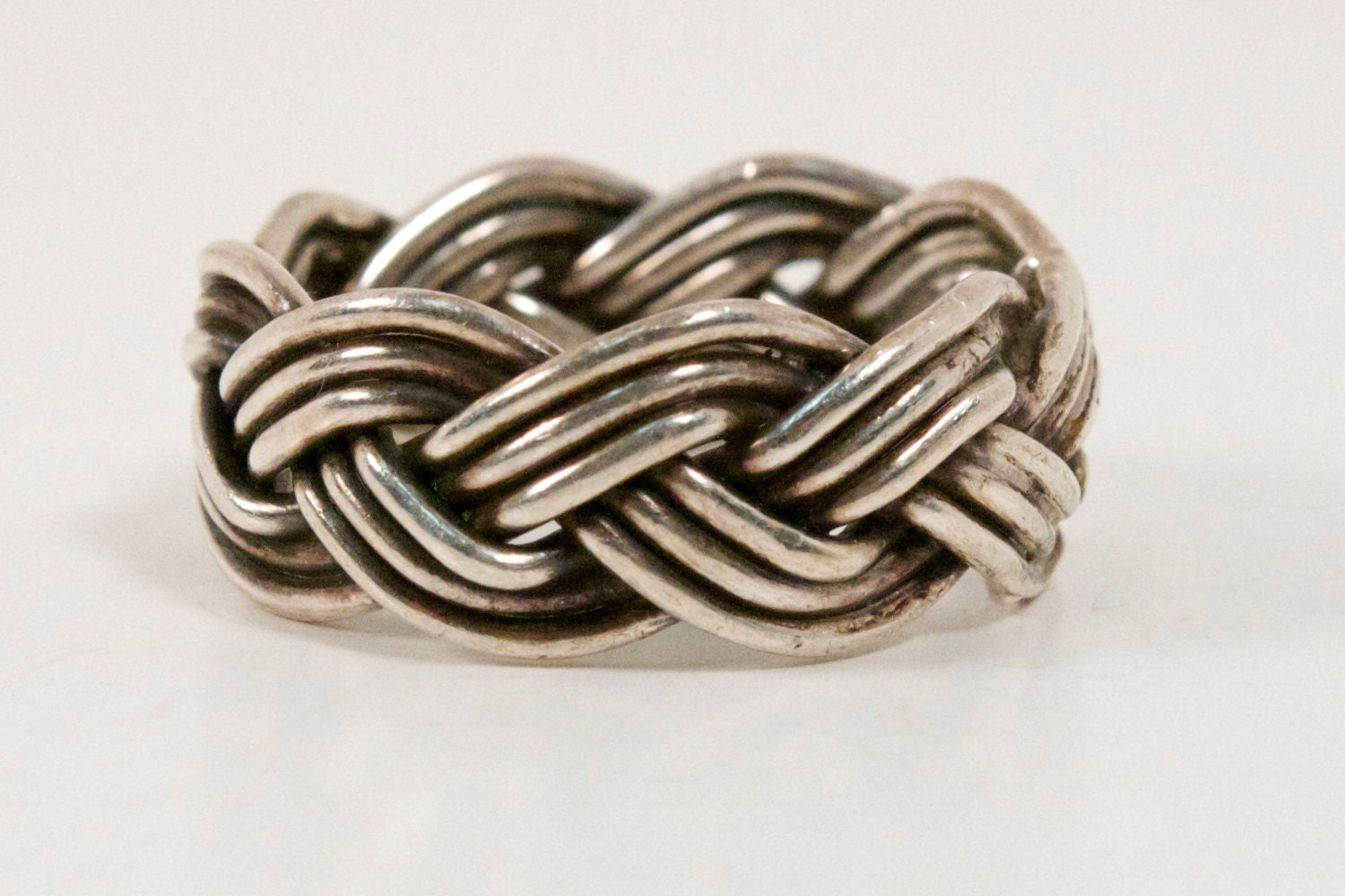 weave ring vintage taxco sterling silver size by