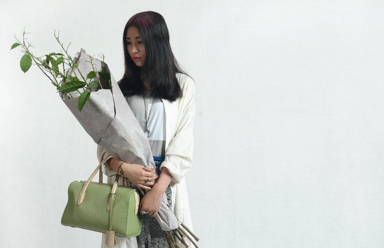 Leather  Handbag Mint Leather Bag Suitcase  NEW design 2 color Bag Shoulder Bag Large Bag - KiliDesign