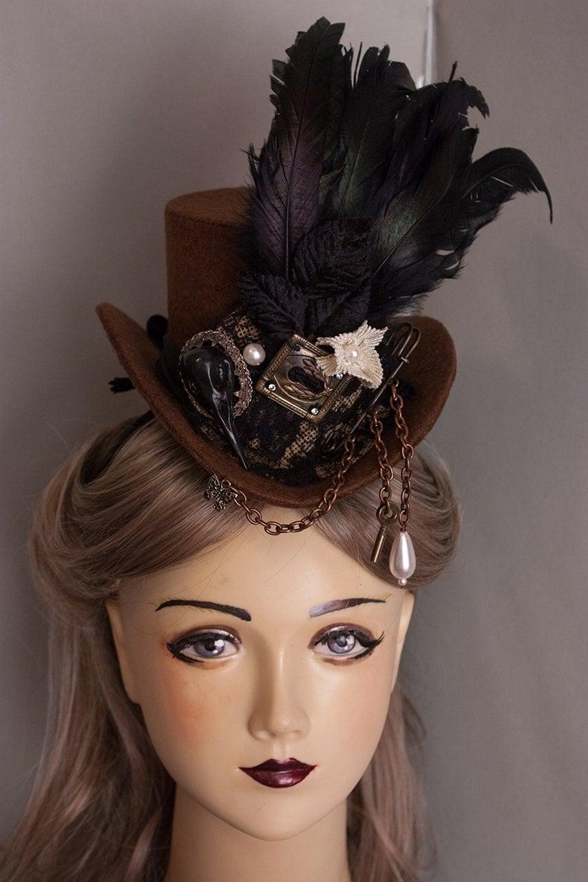 Cunene brown Steampunk Victorian Taxidermy top hat - cunene