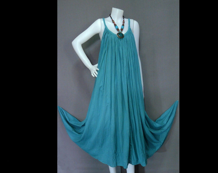 Hippie Bohemian Turquoise Cotton Halter Dress BH015 From HippieHomemade