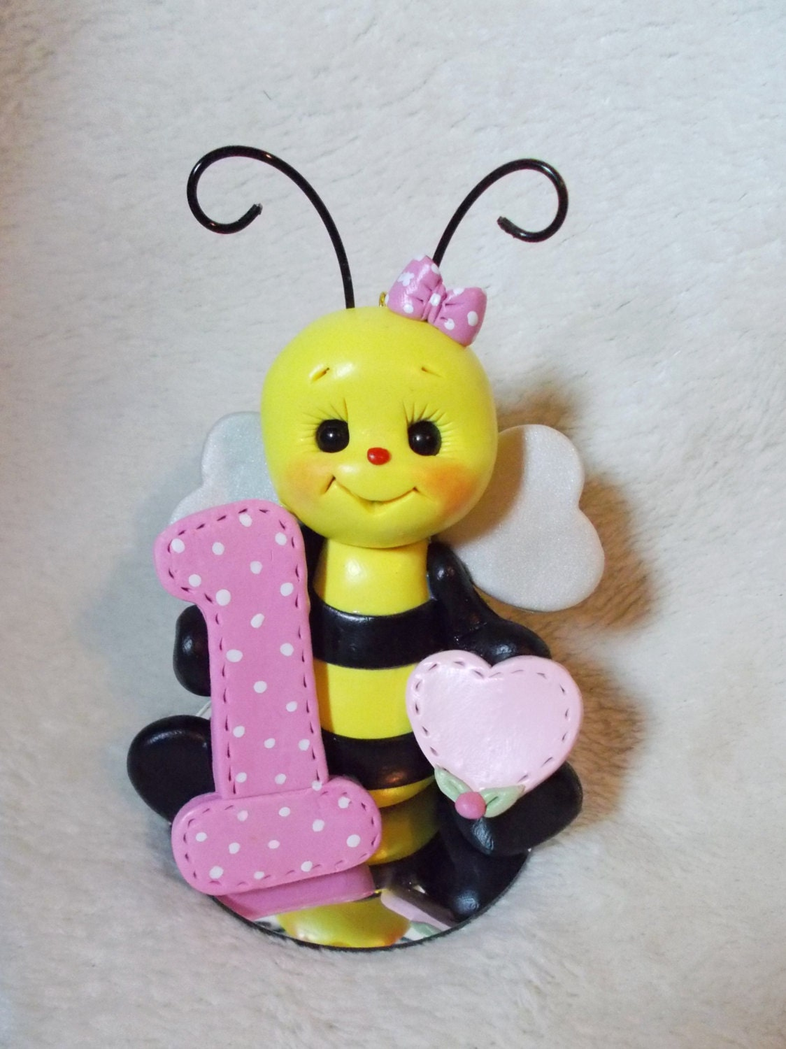 bumble bee birthday cake topper Christmas ornament by clayqts