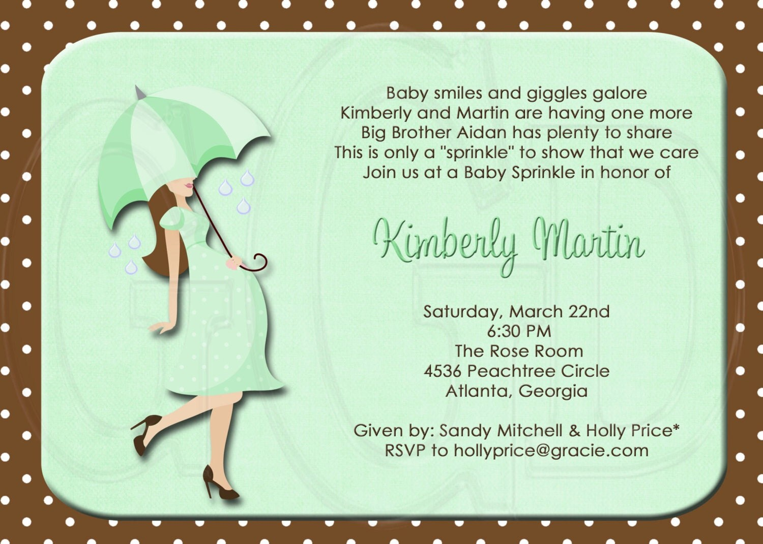 silhouette baby shower or sprinkle for 2nd or 3rd child invitation