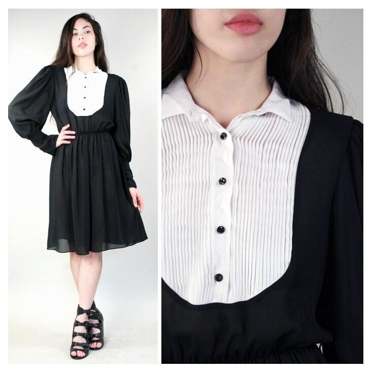 vintage tuxedo black and white secretary dress m by santokivintage