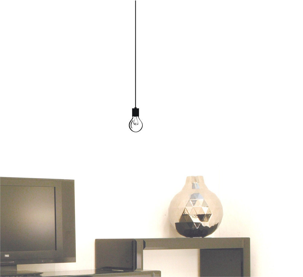 Lights Hanging On Wall : Hanging Light Bulb wall decal by AriseDecals on Etsy