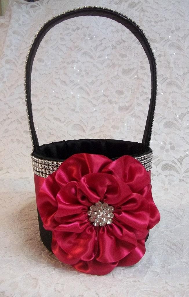 Flower Girl Baskets Black : Black and fuchsia flower girl basket with by allaheartdesires