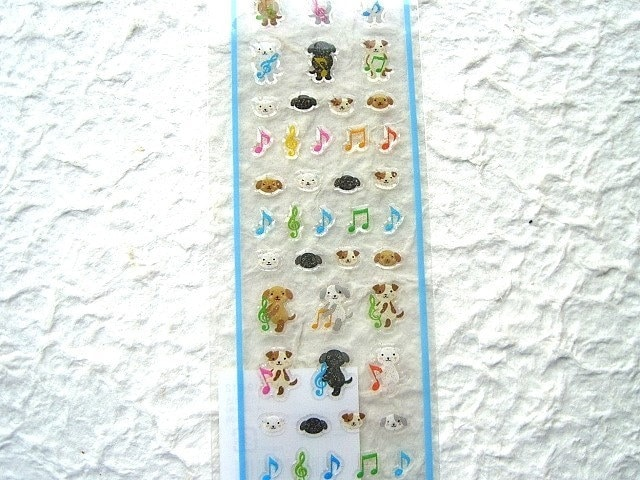 Kawaii Cute  Japanese Animal Stickers - Dancing Dogs Mini Size (S324)