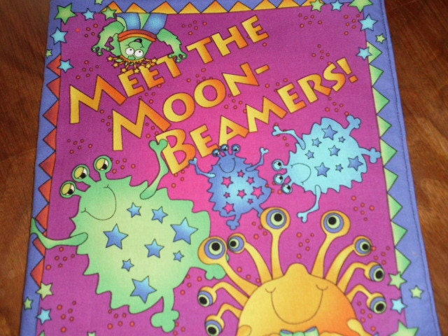 Fabric cloth book meet the moonbeamers space by jltstudio for Outer space themed fabric