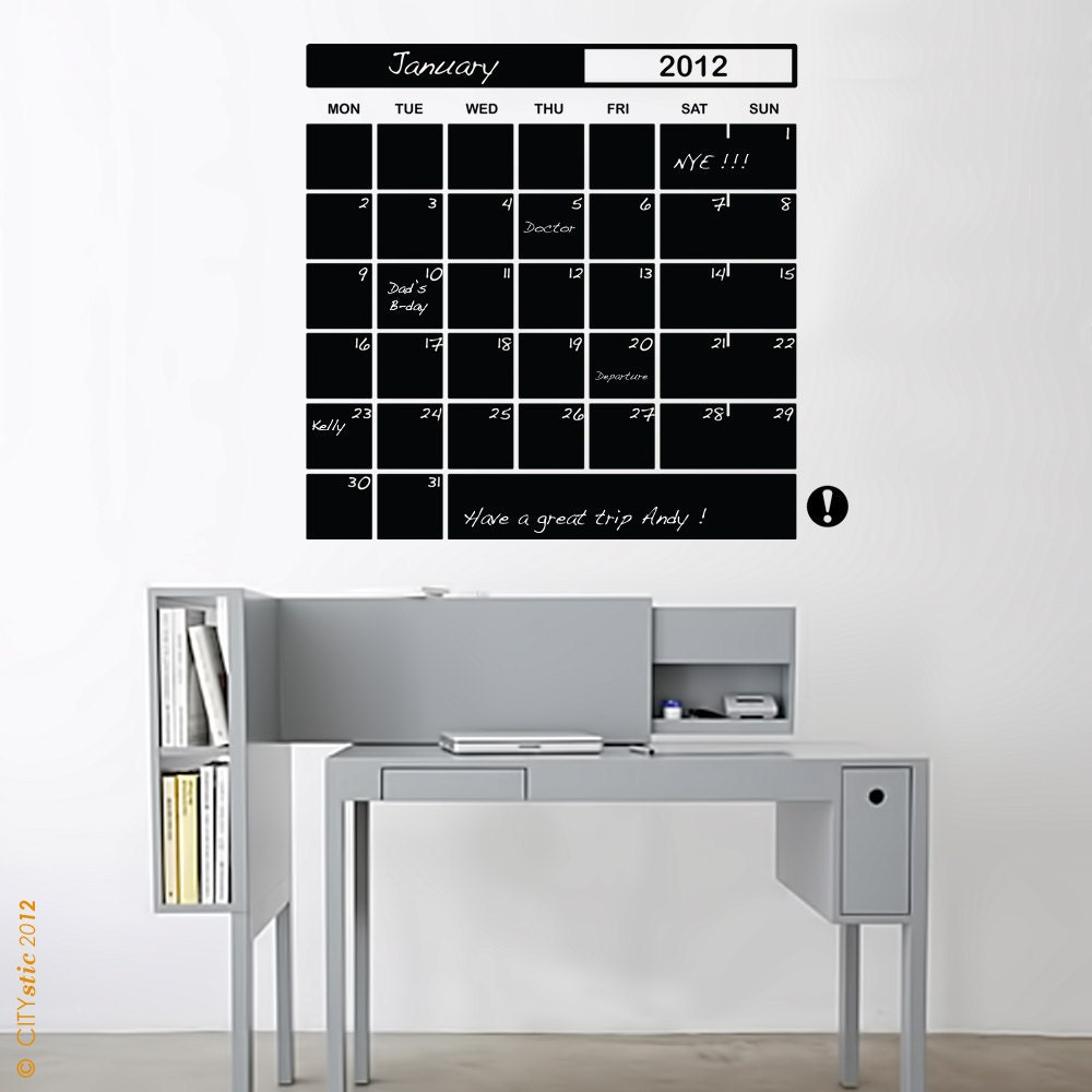 GRAPHIC WALL DECAL : Month Planner Charcoal Schedule planning decal 31 days and memo