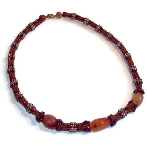 RESERVED for UpstateHerbWorks...Red Agate Rust Necklace