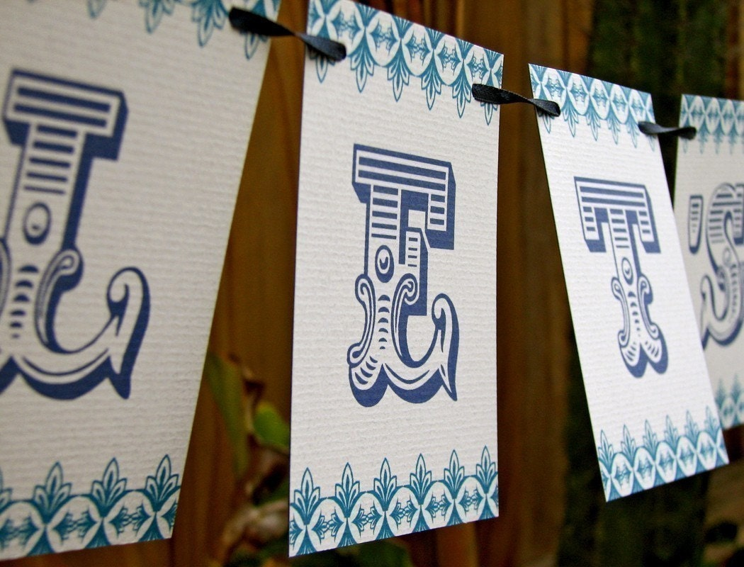 Let's  Celebrate Navy and Blue Paper Garland Party Banner great decor for any  event