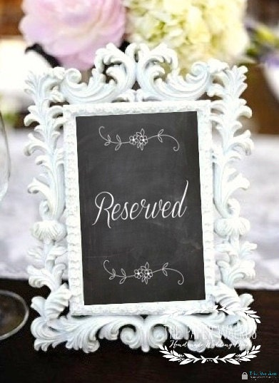 Chalkboard Print Reserved Wedding Signs - (FLAT- Single Sided) Ready to Ship - ThePaperWalrus