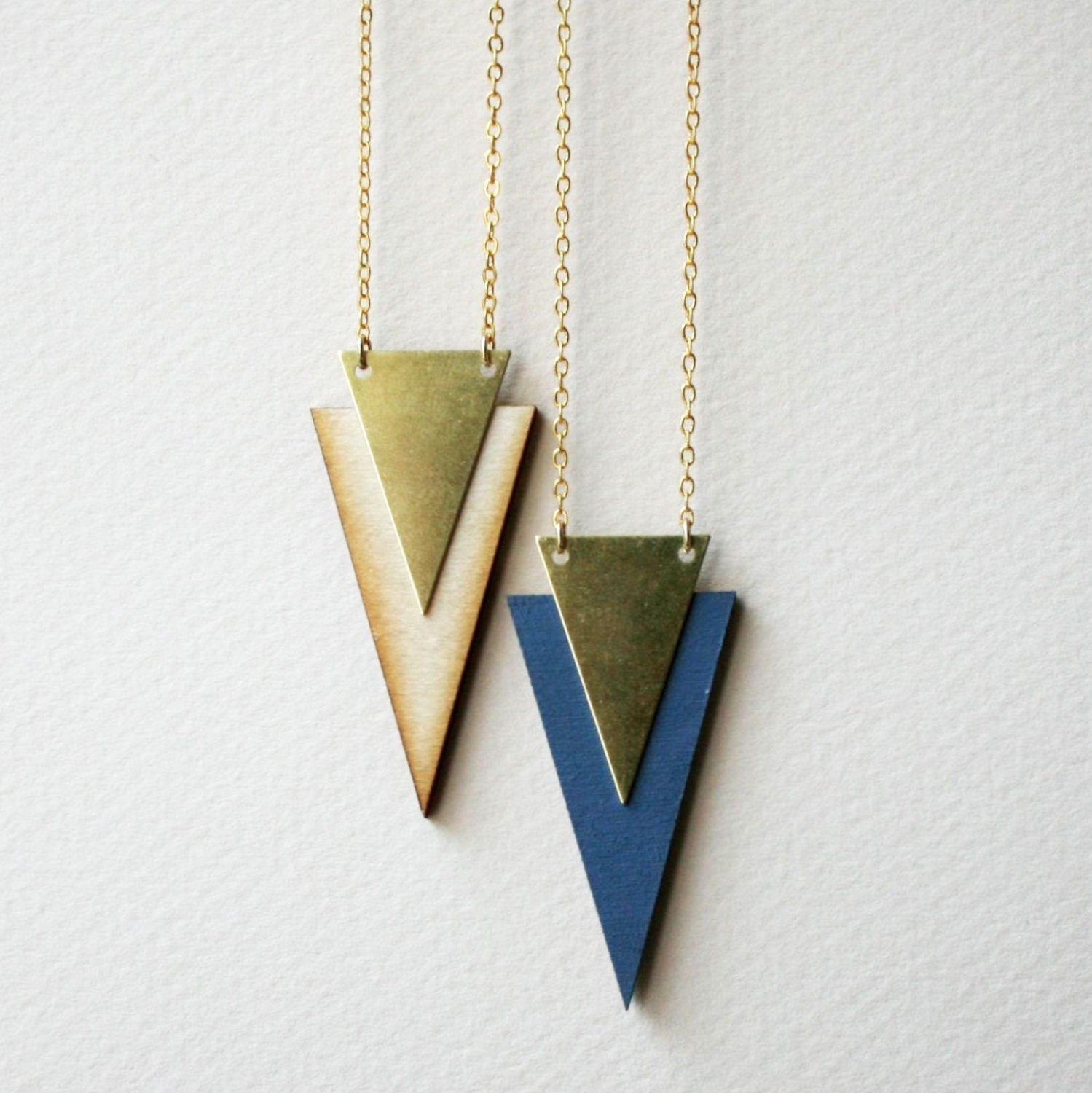 Wooden chevron necklace wood laser cut brass triangle laser cut color block geometric tribal aztec retro dusty blue chevron arrow - GrundledGrundled