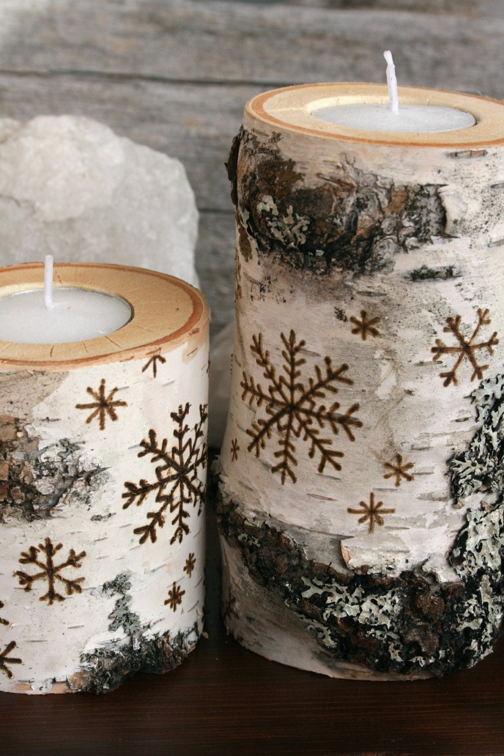 Snowflakes on Birch - Set of 2 Tealight Holders - Woodburning