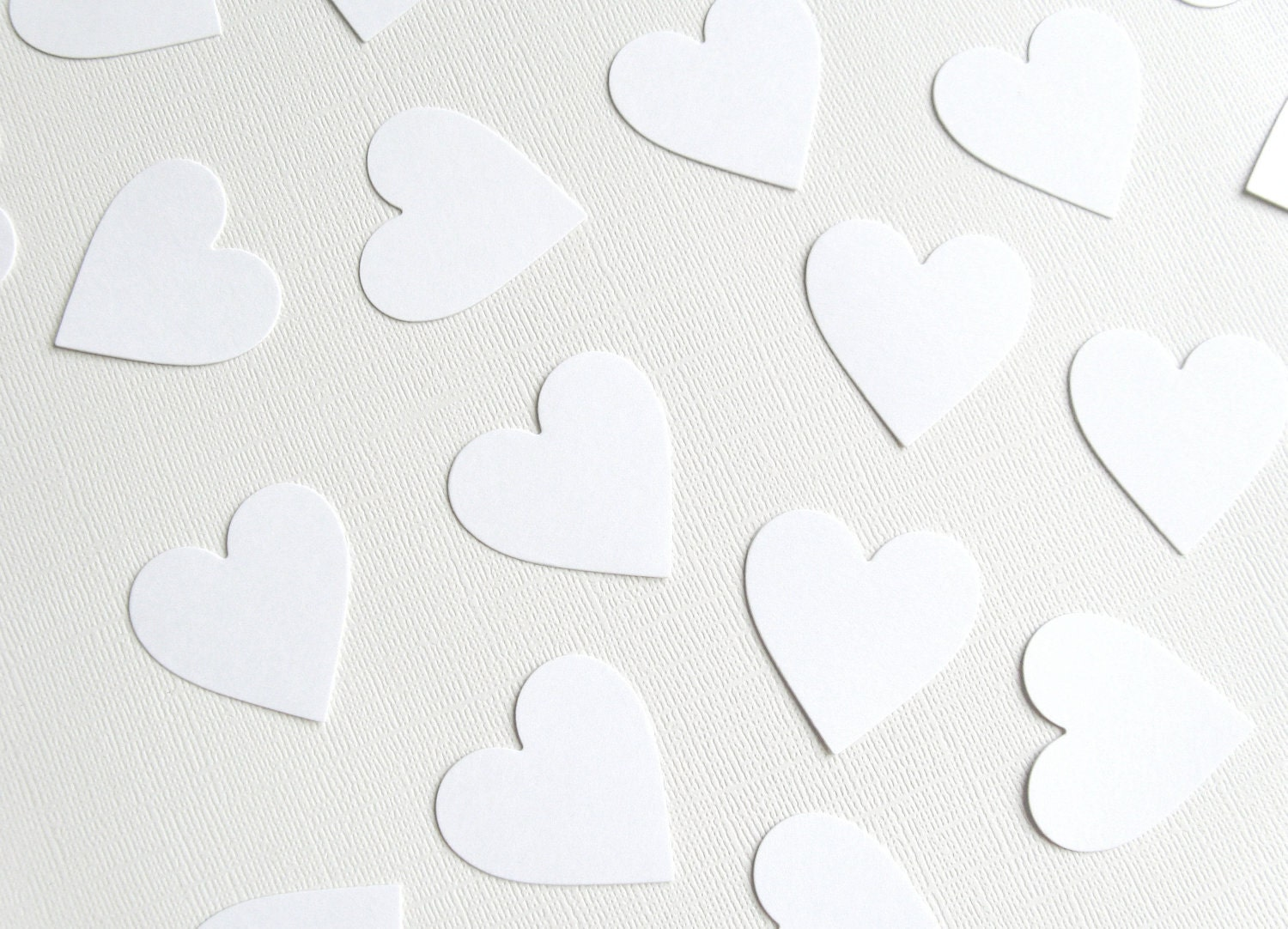 100 Handmade Large Die Cut Hearts, White, Confetti, Embellishments, Weddings