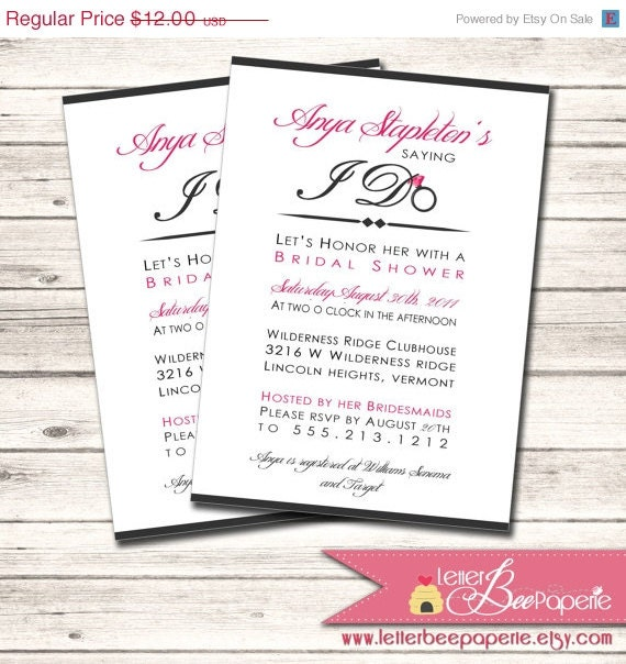 ON SALE Bridal Shower Invitation - Custom Order to Match the Bride's ...