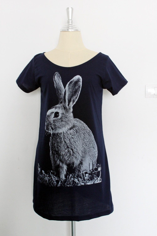 Ma Bicyclette: Buy Handmade   Dresses - Tshirt99 rabbit hand-printed cotton tshirt dress