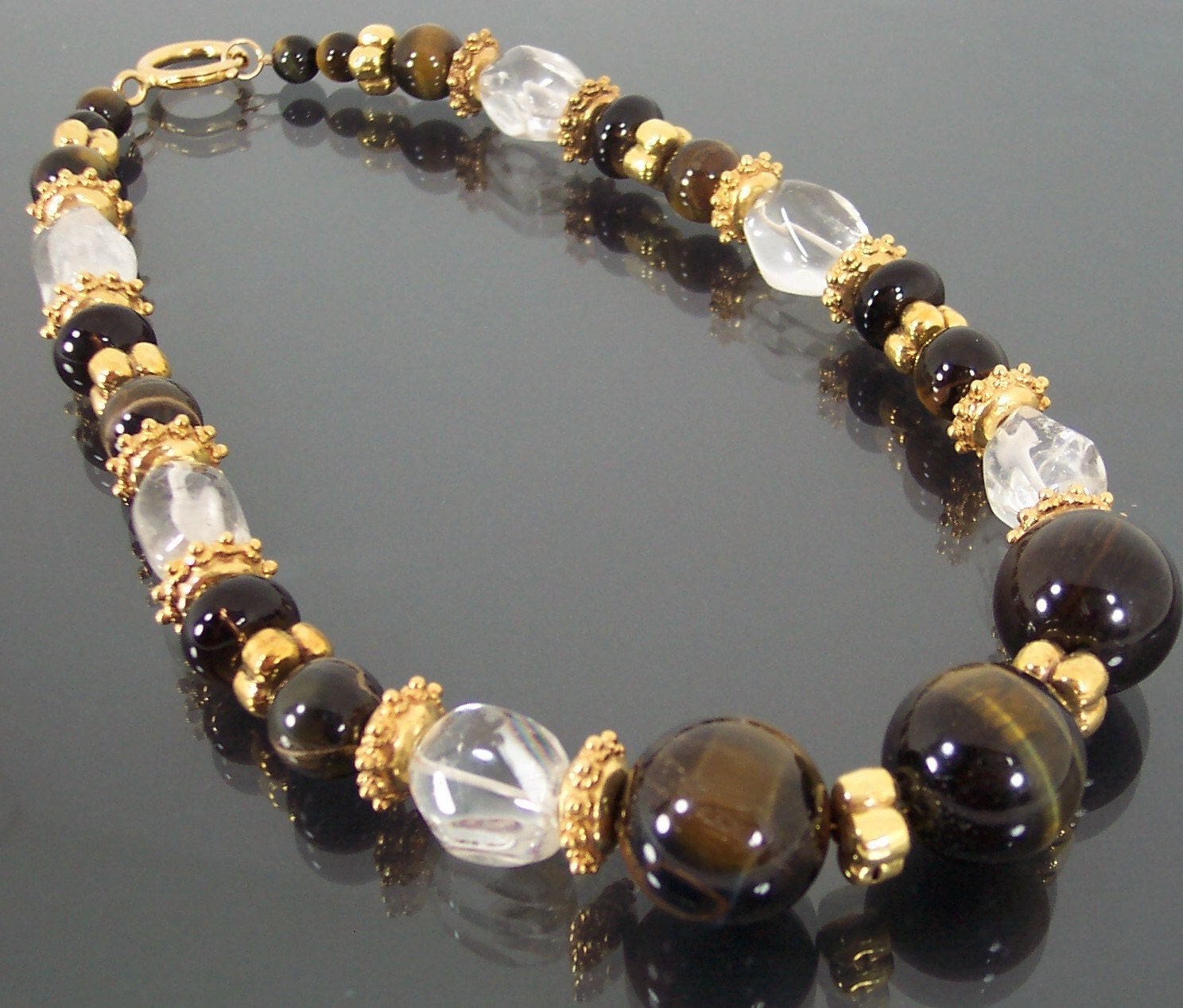 Etsy :: estanciadesigns :: Cool Sophistication Tiger Eye Smoky Quartz Vermeil Gold Necklace from etsy.com