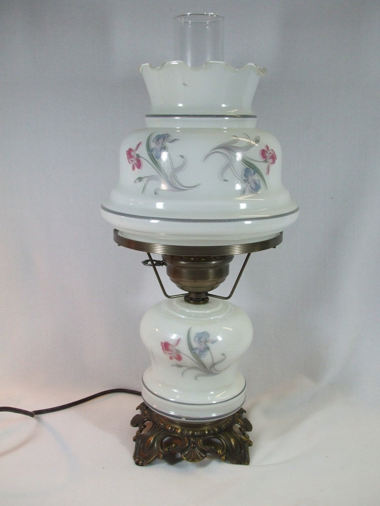 vintage milk glass table lamp floral design by