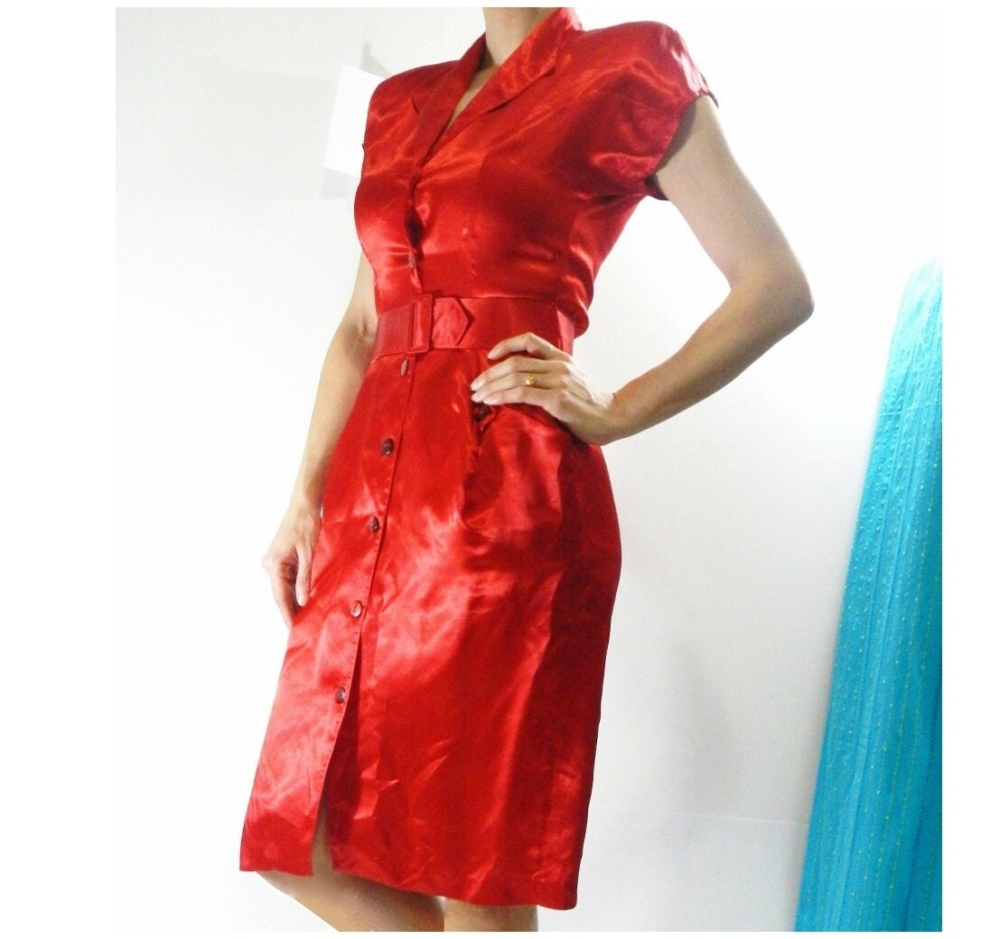 1980s Cherry Red Satin Shirt Dress from Azucena Vintage on Etsy