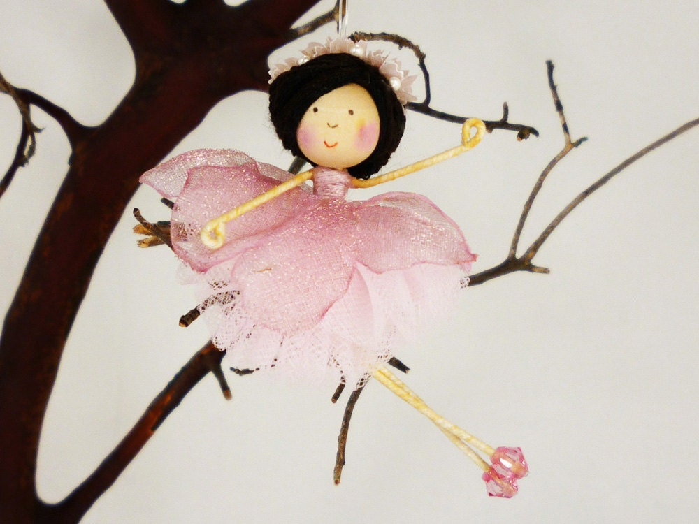 Dusty Rose Flower Ballerina Ornament, Miniature Dancer Doll, Ballerina Gift, Girl Dancer, Little Girl Gift, Pink Christmas Fairy, Petalbelle - petalbelles