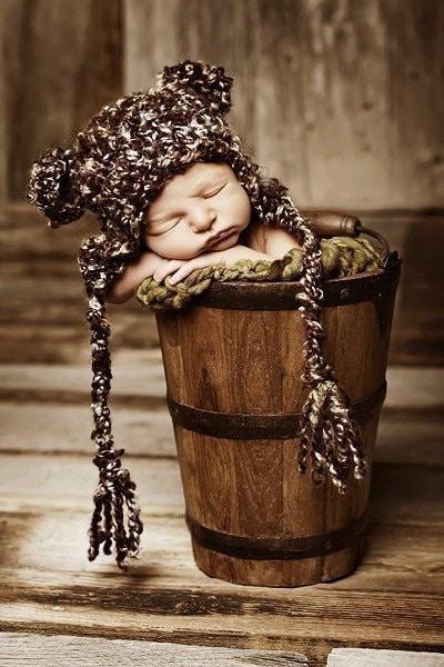 PDF CROCHET PATTERN- Newborn Teddy Bear Earflap Beanie