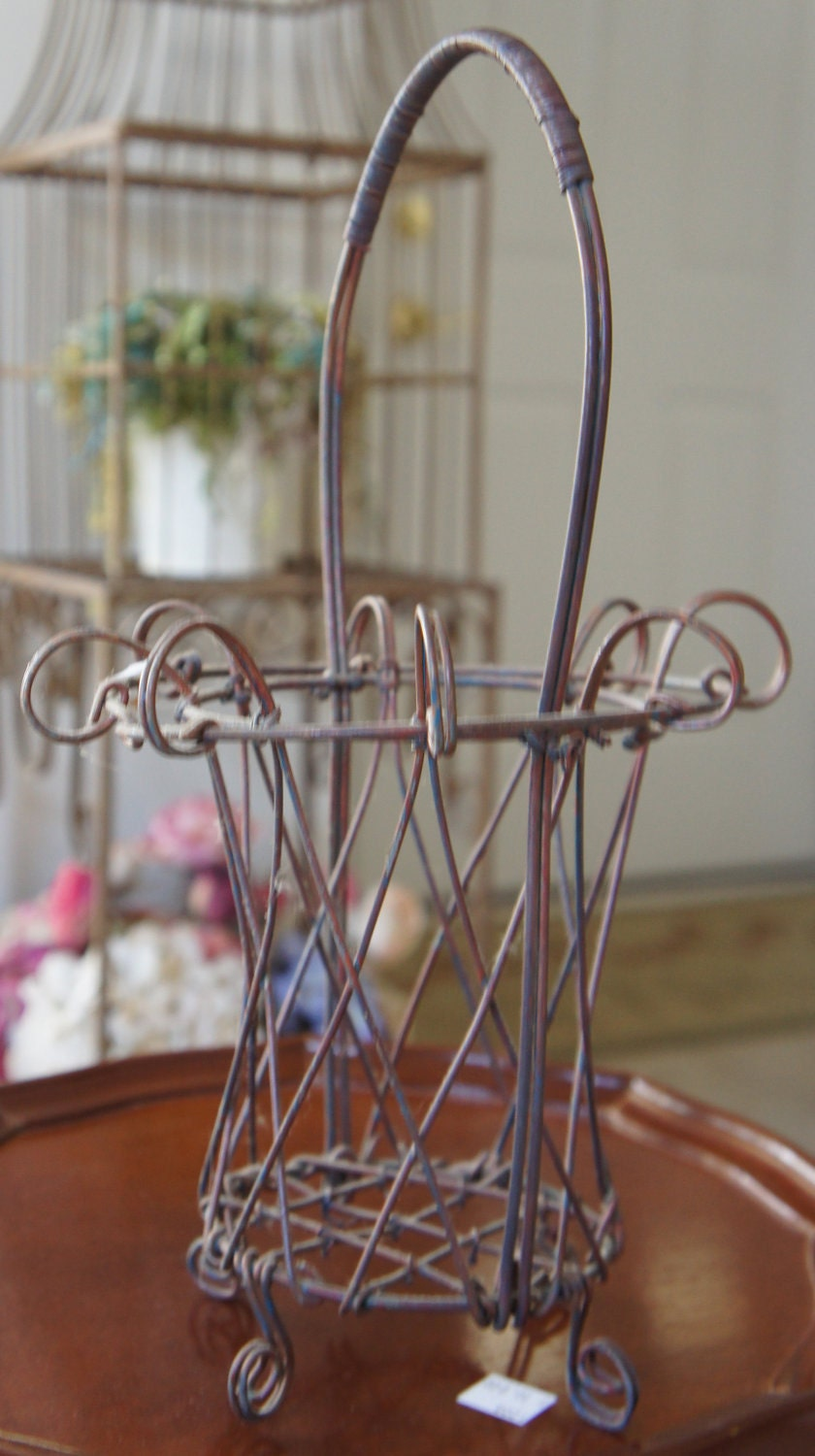 Vintage French Shabby Chic Wire Basket