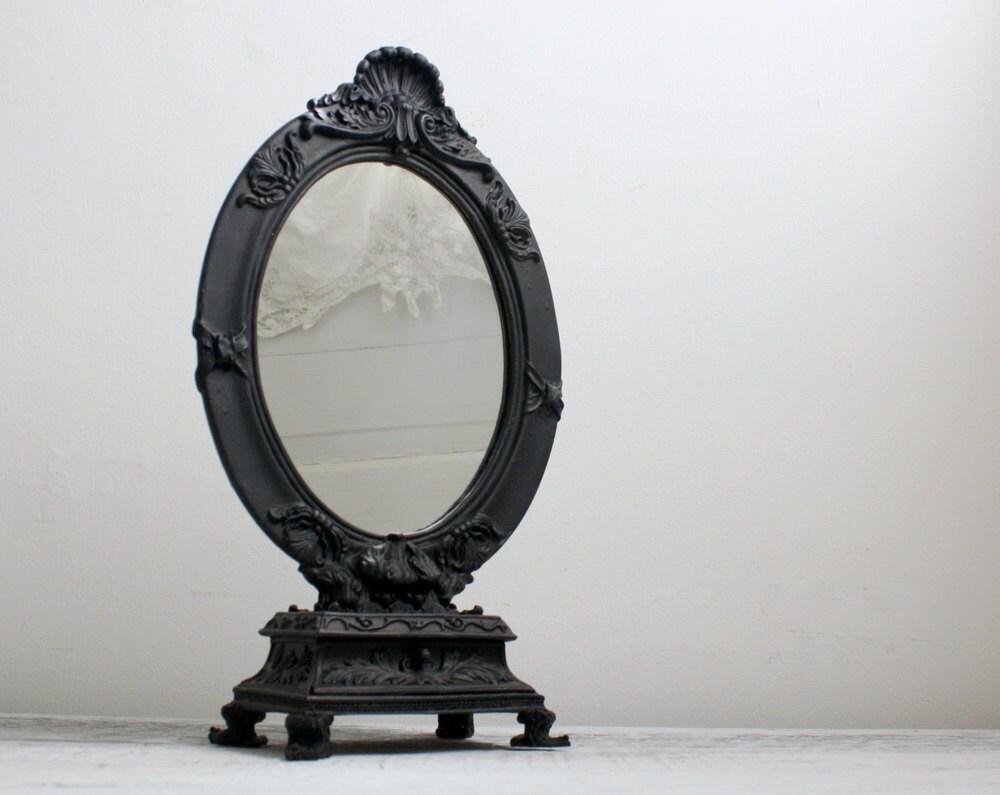 Painted Ornate Black Table Mirror