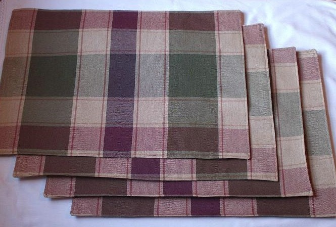 CLEARANCE SALE 50 PERCENT OFF Plaid Placemats (Set of 8)