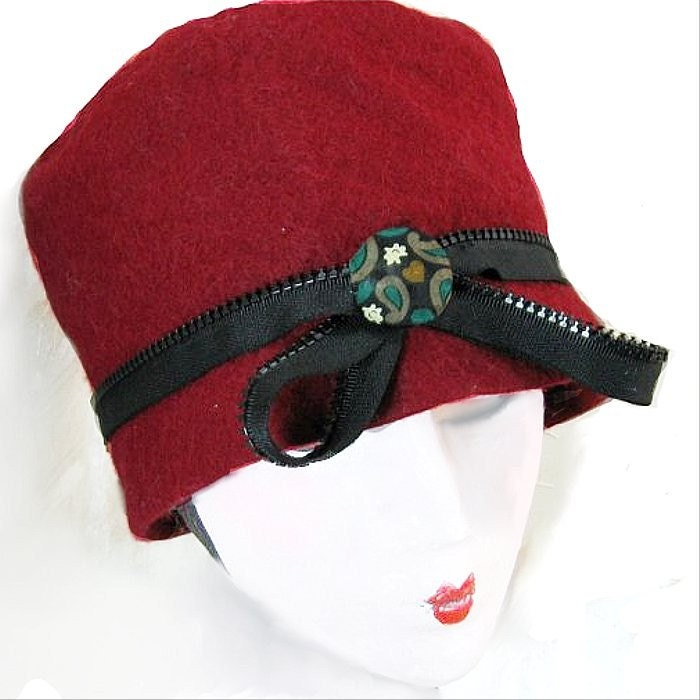 Claret Red Cloche Handmade Hat