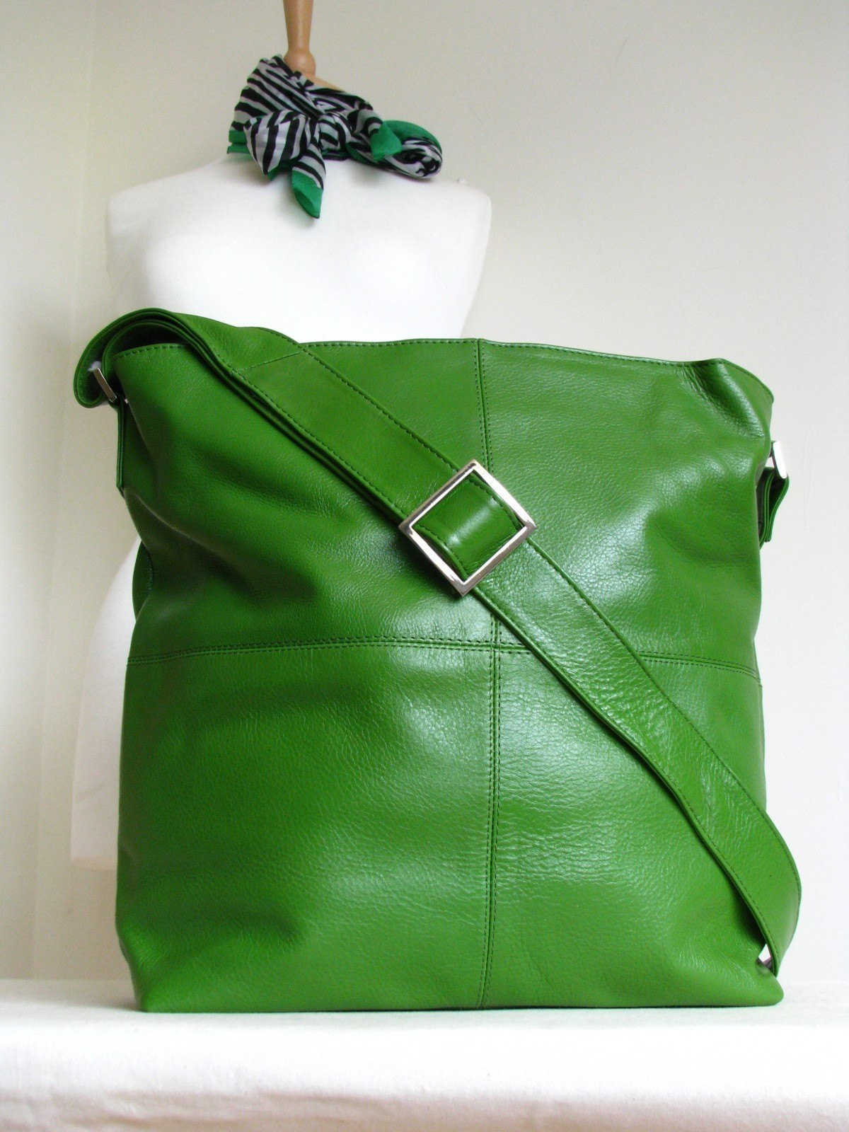 Large Kelly Green Messenger Bag