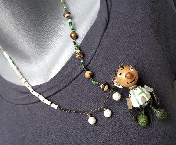 Lederhosen.  Antique Toy Necklace Brooch.