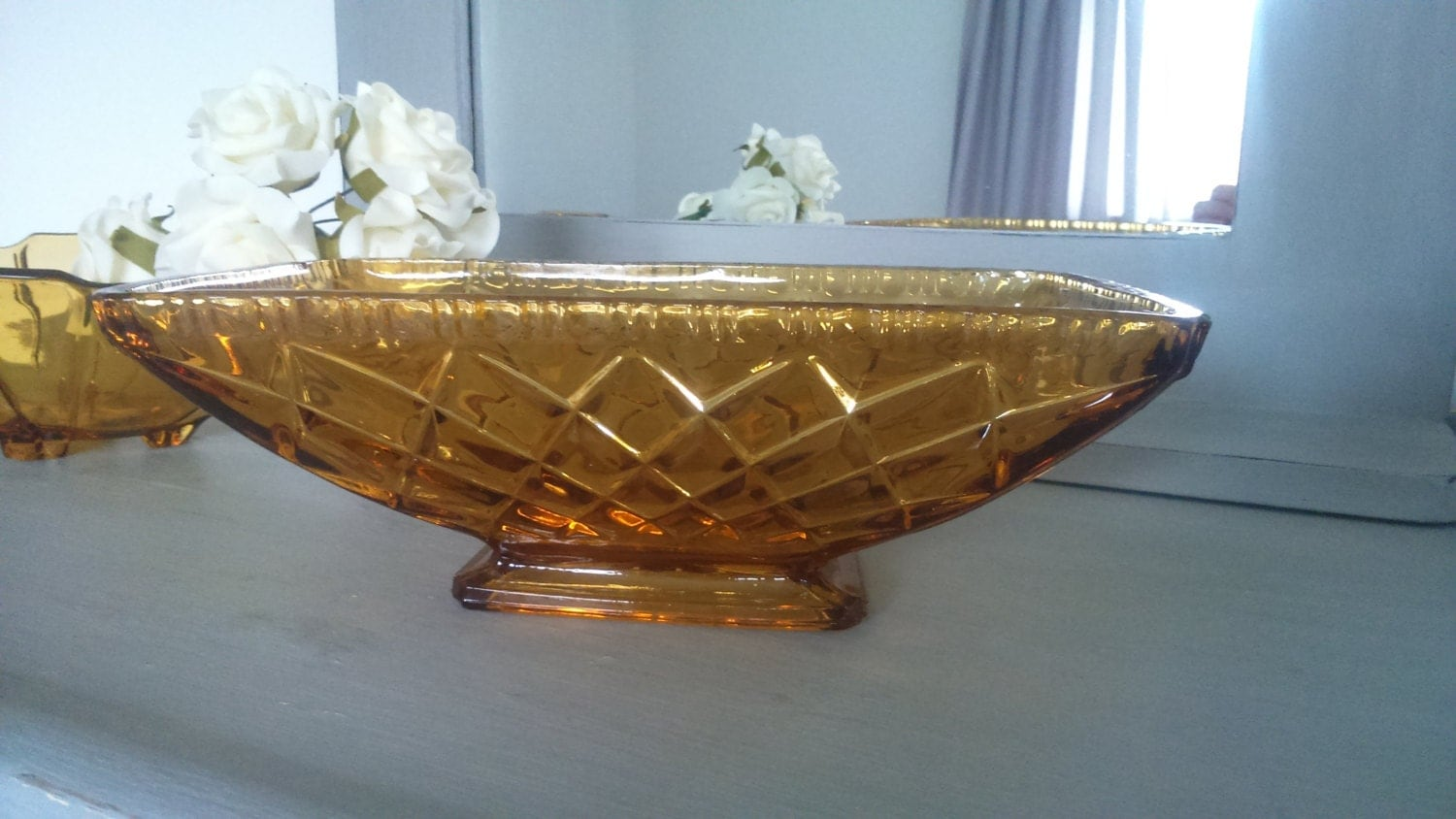 Art Deco 1930s Amber Glass Ware  Cut Glass  Dish  Vintage