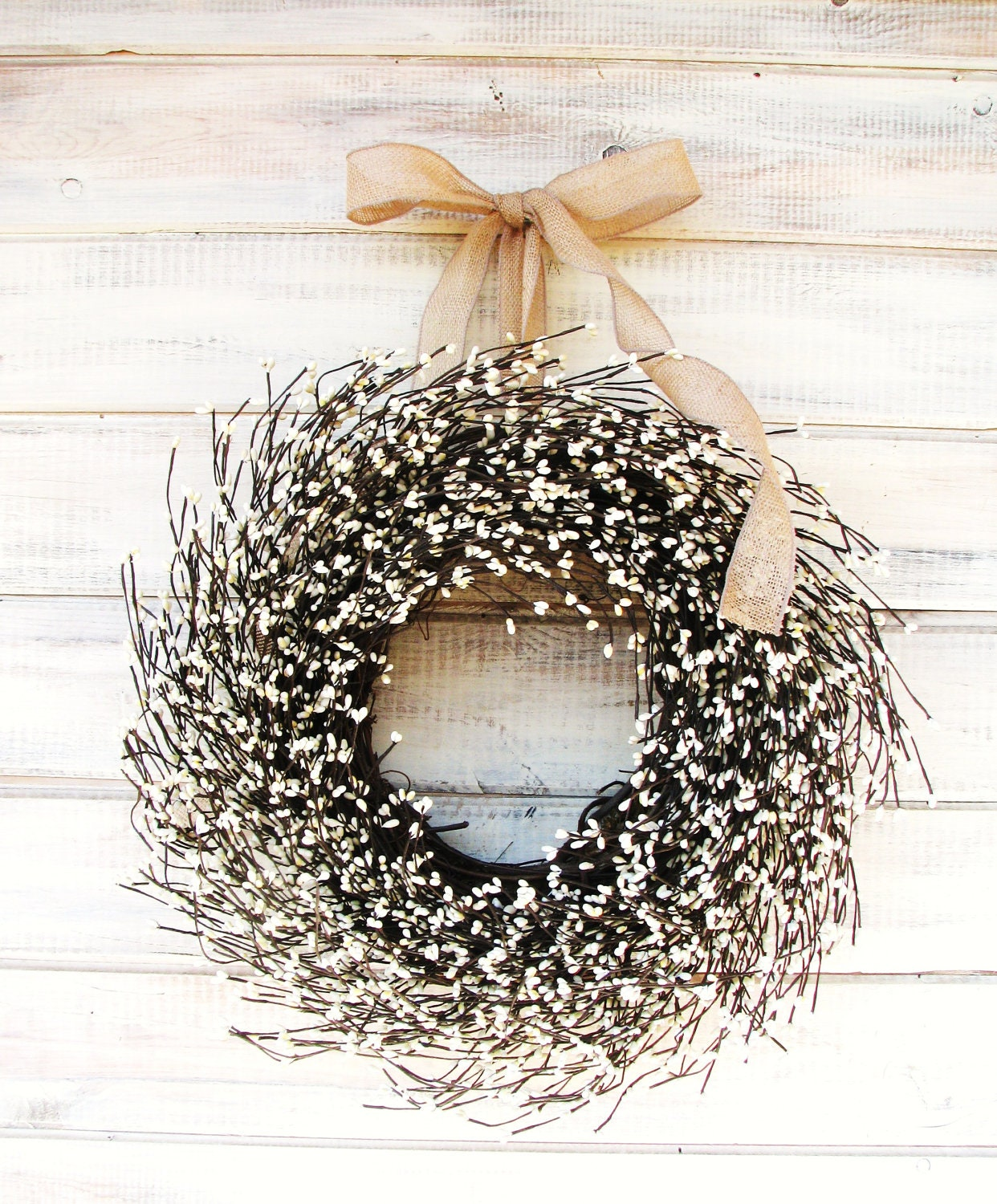 brown white and gold shabby chic holiday wreath for door