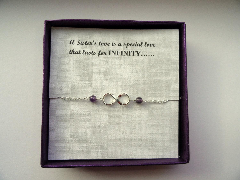 Sister gift Sterling silver Infinity amethyst bracelet Infinity bracelet Infinity jewelry Bridesmaids gift Gift for Sister