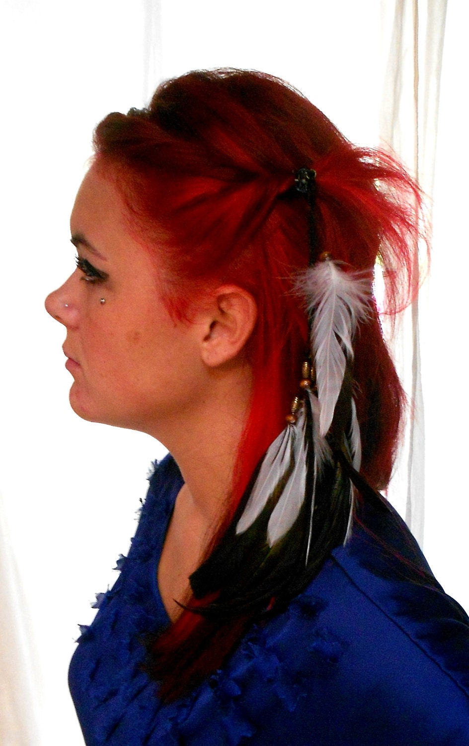 1970s retro style feather Hair Clip Beaded by TrueRebelClothing