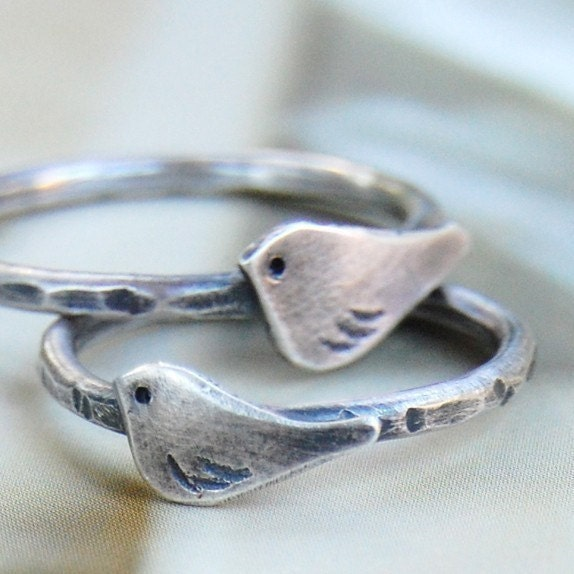 le petit oiseau - bird ring - sterling silver - custom