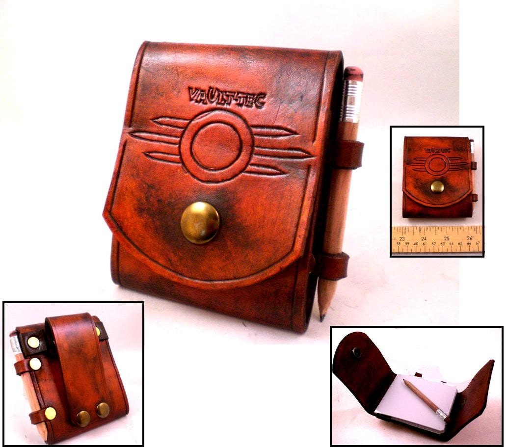 fallout vault tec leather note pad belt pouch with by