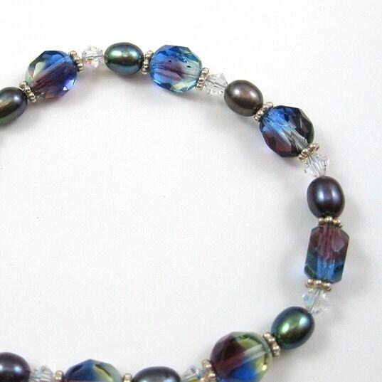 Vibrant Faceted Glass  Pearl  Sterling Silver Bracelet