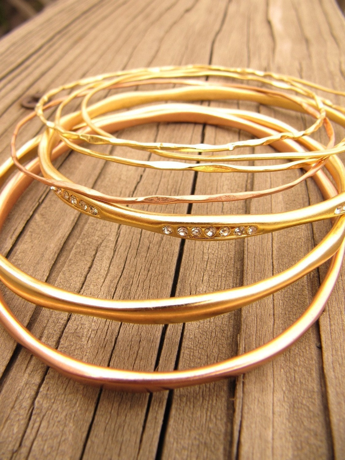 Organic Hammered Mixed Oval Golden Bangle Set