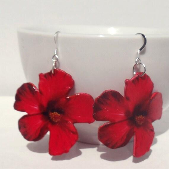 Red Hibiscus Earrings - studiococoboho