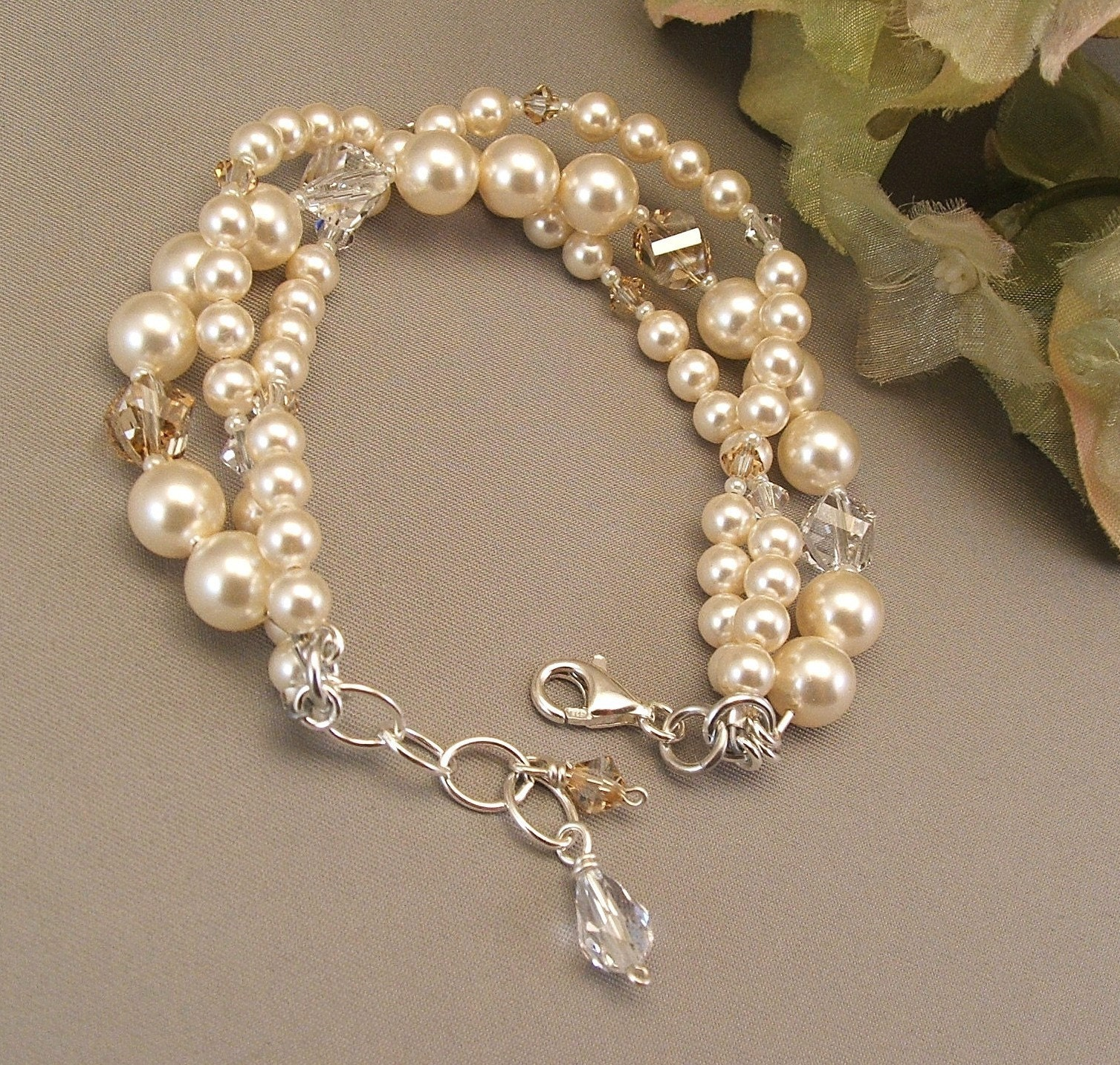 IVORY WEDDING GOWN BRACELET  IVORY SWAROVSKI PEARLS by Handwired from etsy.com
