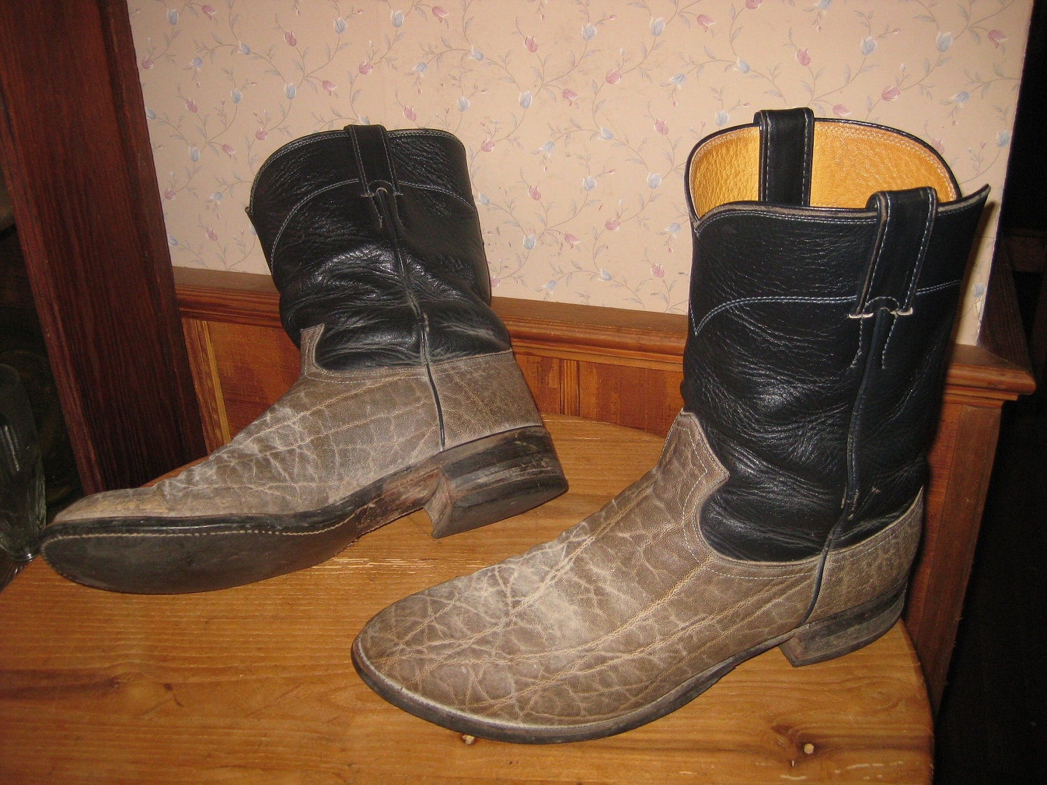 justin elephant hide cowboy boots made in usa by dotyvintage