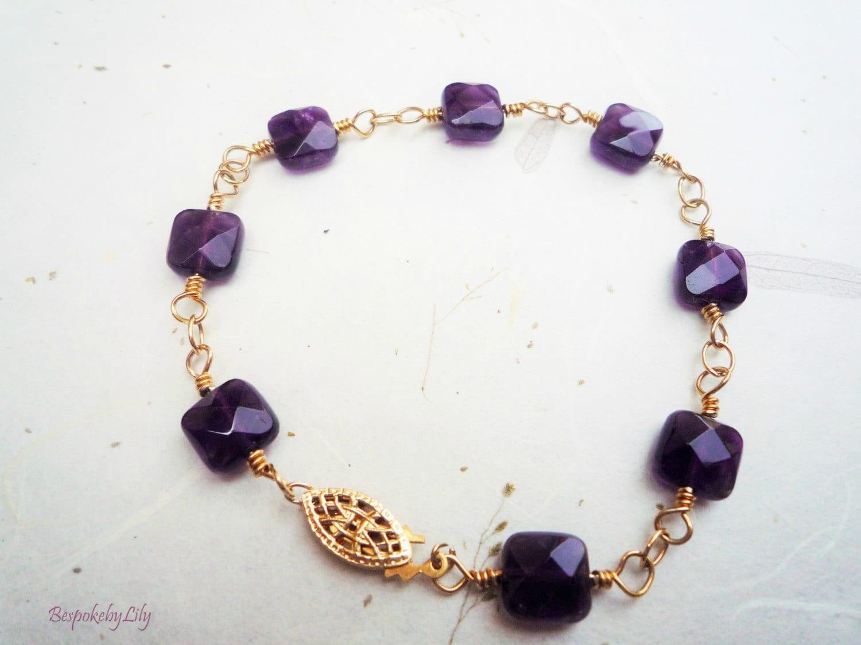 Amethyst and Gold Filled Bracelet