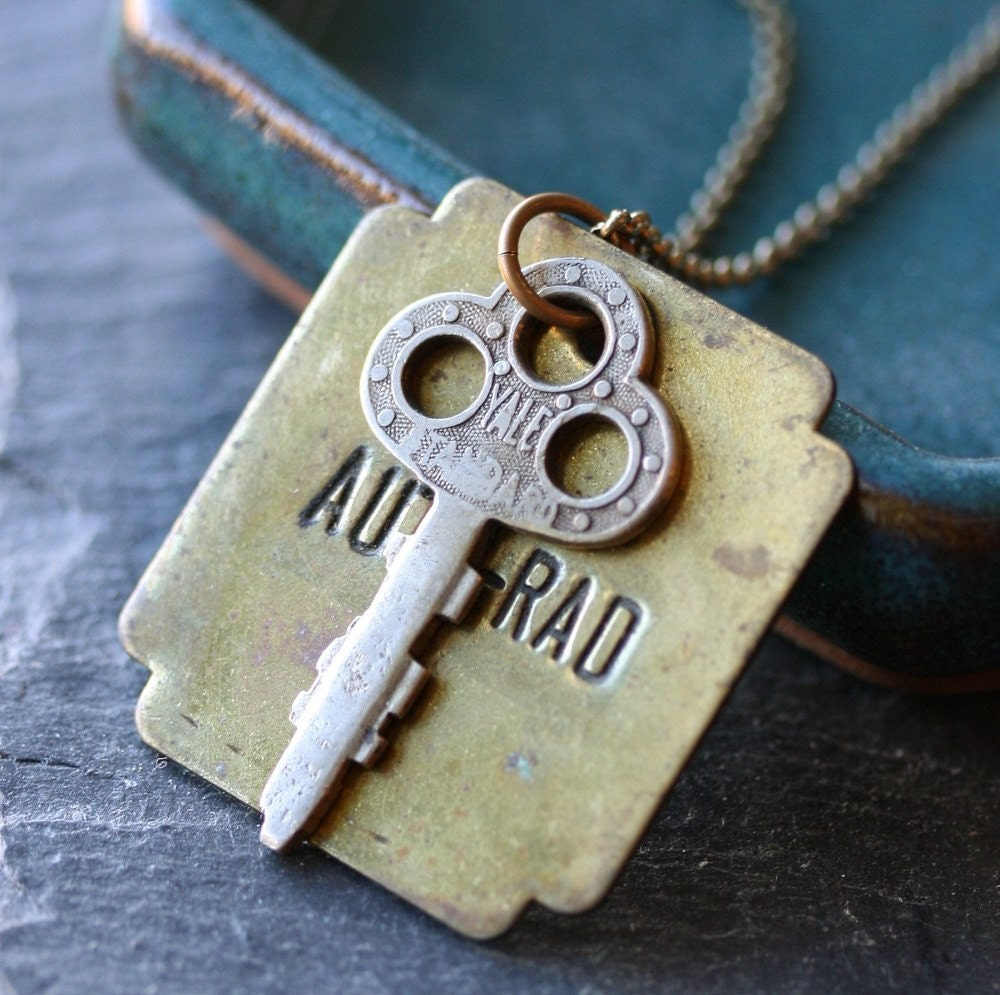 Eighth Avenue Necklace - Vintage Brass Tag and Vintage Key